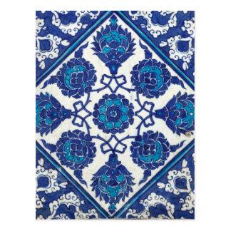 Iznik Floral Ethnic Tribal Turkish Mosaic Pottery Postcard