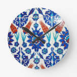 Iznik Oriental Tile Design Round Wall Clock