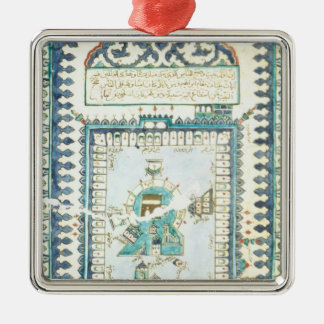 Iznik tile with a representation of Mecca Metal Ornament