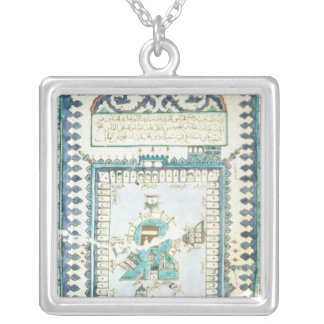 Iznik tile with a representation of Mecca Silver Plated Necklace