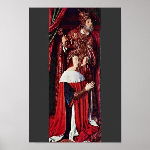 Izquierda del tríptico de Moulins: Retrato de Pedr Póster