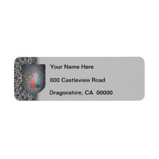 Izquierda gris de Chainmail del dragón del escudo Etiqueta De Remitente