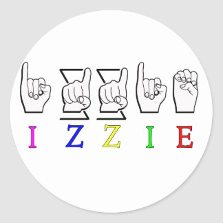 IZZIE FINGERSPELLED ASL NAME SIGN CLASSIC ROUND STICKER
