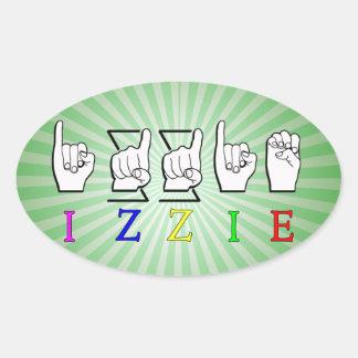 IZZIE FINGERSPELLED ASL NAME SIGN OVAL STICKER