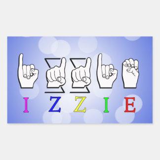 IZZIE FINGERSPELLED ASL NAME SIGN RECTANGULAR STICKER
