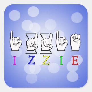 IZZIE FINGERSPELLED ASL NAME SIGN SQUARE STICKER