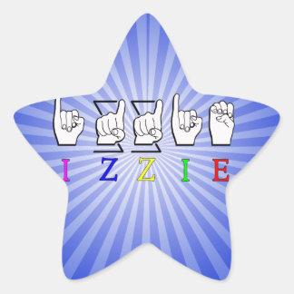 IZZIE FINGERSPELLED ASL NAME SIGN STAR STICKER