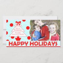 J1 Happy Holiday Polka Red Christmas Photo Card