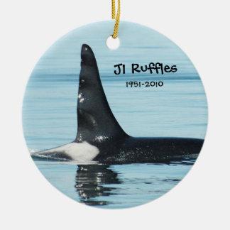 J1 riza el ornamento del tributo adorno navideño redondo de cerámica