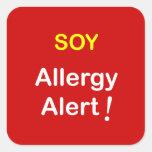 j4 - Alarma de la alergia - SOJA Pegatina Cuadrada