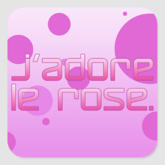 J Adore Le Rose I Love Pink in French Square Sticker