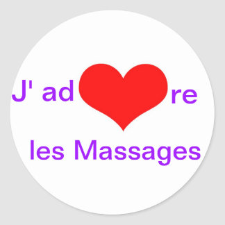 J adore les massages round sticker