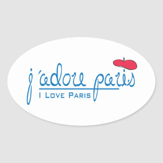 j adore Paris I love Paris with red beret Oval Sticker