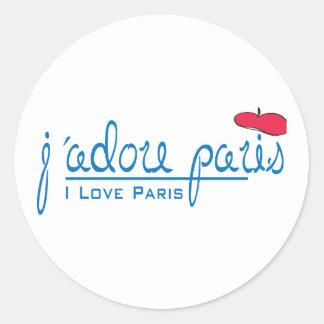 j adore Paris I love Paris with red beret Stickers