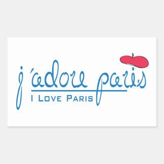 j adore Paris I love Paris with red beret Rectangular Sticker