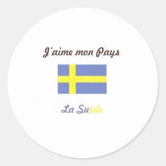 J aime la Suède jpg Adhésifs Ronds