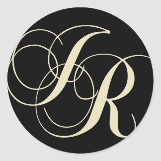 J and R monogram - make your own text colour Classic Round Sticker