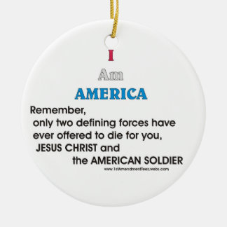 J C and the American soldier Ceramic Ornament