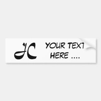 J C. Jesus Christ. Add your own message . . . Bumper Sticker