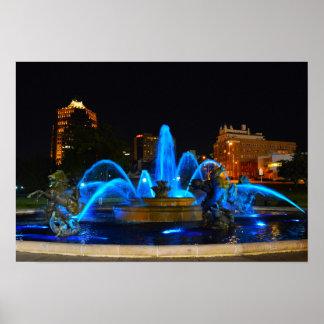 J.C. Nichols Fountain en el azul, Kansas City Póster