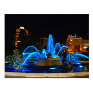J.C. Nichols Fountain in Blue, Kansas City Postcard