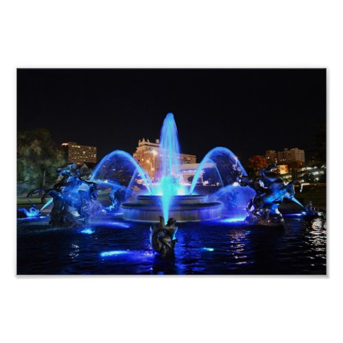 J.C. Nichols Fountain in Royal Blue, Kansas City Poster