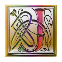 J Celtic Rainbow Custom Monogram Tile