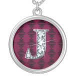 """J"" Diamond Bling on Damask Necklace"