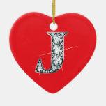"""""""J"""" Diamond Bling on Red Ornament"""