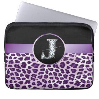 "J ""Diamond"" Purple Leopard & Ribbon Electronics Computer Sleeve"