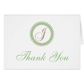 J Dot Circle Monogam Thank You Cards (Brown/Mint)