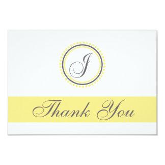 J Dot Circle Monogam Thank You Cards (Yellow/Gray)