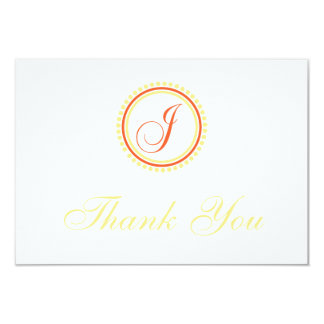 J Dot Circle Monogam Thank You (Orange / Yellow) Card