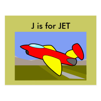 """""""J"""" está para el alfabeto Flashcard del jet Tarjetas Postales"""