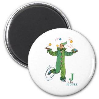 """""""J"""" está para Juggle Imán Redondo 5 Cm"""