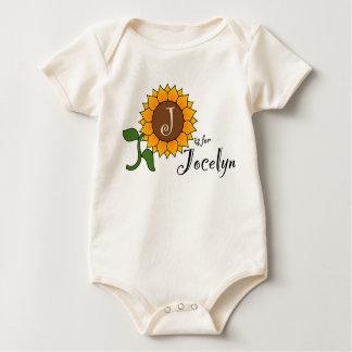 J está para la camiseta del girasol de Jocelyn Enteritos