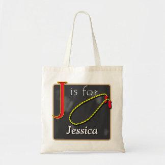 J está para la comba J está para Jessica Bolsa Tela Barata