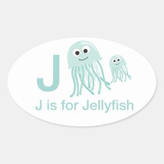J está para las medusas pegatina oval