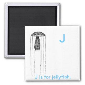 J está para los pescados de jalea imán cuadrado