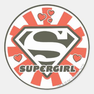 J-Estallido 7 de Supergirl Pegatina Redonda