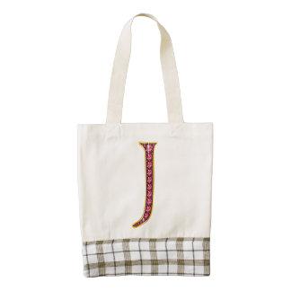 """J Faux-""""Ruby"""" Monogram Zazzle HEART Tote Bag"""