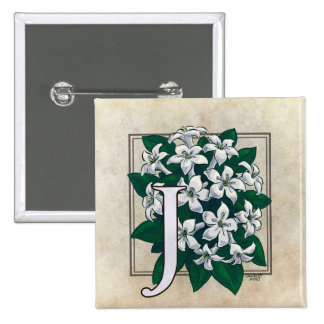 J for Jasmine Flower Monogram 2 Inch Square Button