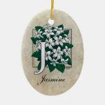 J for Jasmine Flower Monogram Christmas Ornament