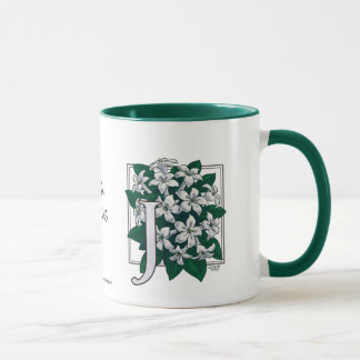 J for Jasmine Flower Monogram Mug