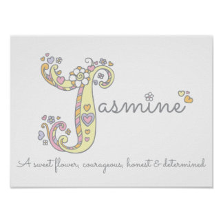 J for Jasmine initial doodle art name meaning Poster