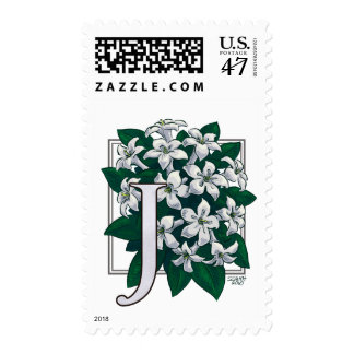 J for Jasmine Monogram Flower Postage