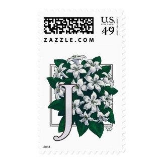 J for Jasmine Monogram Flower Postage
