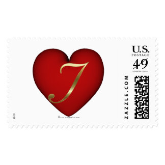 J - Gold 3d Heart 2 Stamps