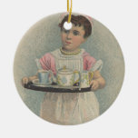 J.H. Crane Furniture Young Girl with Serving Tray Ceramic Ornament