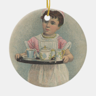 J.H. Crane Furniture Young Girl with Serving Tray Double-Sided Ceramic Round Christmas Ornament